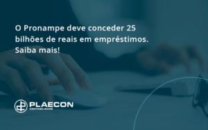 O Pronampe Deve Conceder 25 Bilhões De Reais Em Empréstimos. Saiba Mais! Plaecon Contabilidade - O Contador Online